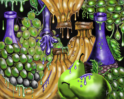 Purple Grapes Digital Art - Grapes Bananas And Pears  Oh My by Steve Farr