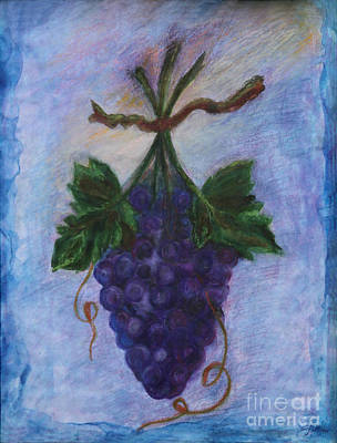 Bunch Of Grapes Drawing - Grapes by Elena Fattakova