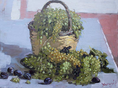 Table Painting - Grapes From Kostas Garden by Ylli Haruni