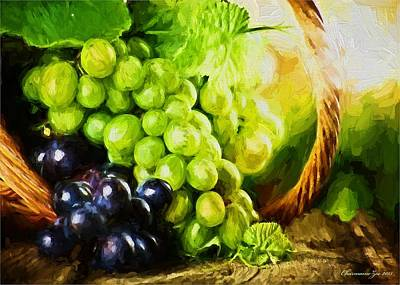 Digital Art - Grapes In A Basket by Charmaine Zoe