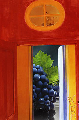 Grape Vines Mixed Media - Grapes In A Red Room by Francine Gourguechon