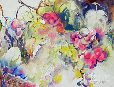 Art Print featuring the painting Grapes In Season by Mary Haley-Rocks