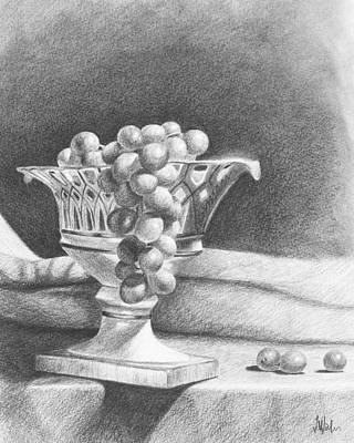 Art Print featuring the drawing Grapes by Joe Winkler