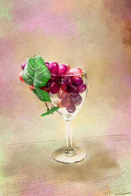 Grapes Of Wine In Glass Original by Mary Timman
