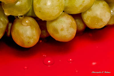 Photograph - Grapes On Red by Christopher Holmes
