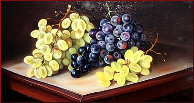 A Summer Evening Landscape Painting - Grapes On The Table by Sabrina Garzelli