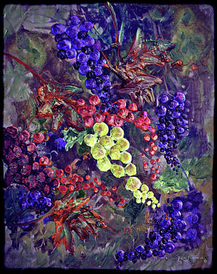 Malbec Mixed Media - Grapes On The Vine Art 2 by Ken Figurski