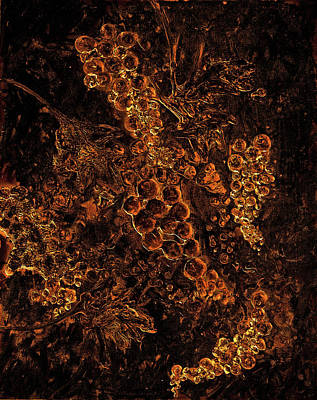 Malbec Mixed Media - Grapes On The Vine Gold Art by Ken Figurski