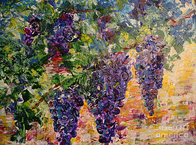 Winery Painting - Grapes On The Vine by Tina Sheppard