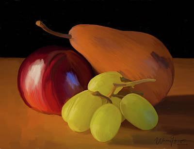 Painting - Grapes Plum And Pear 01 by Wally Hampton