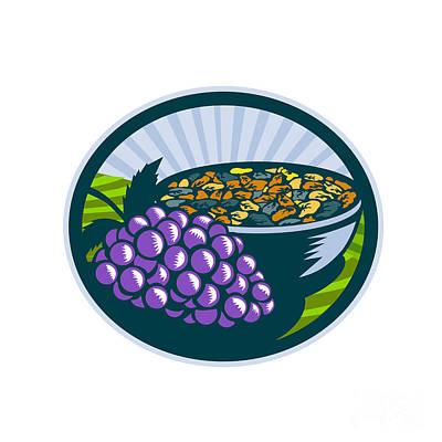 Vineyard Digital Art - Grapes Raisins Bowl Oval Woodcut by Aloysius Patrimonio