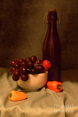 Winebottle Photograph - Grapes Still Life by Solongo