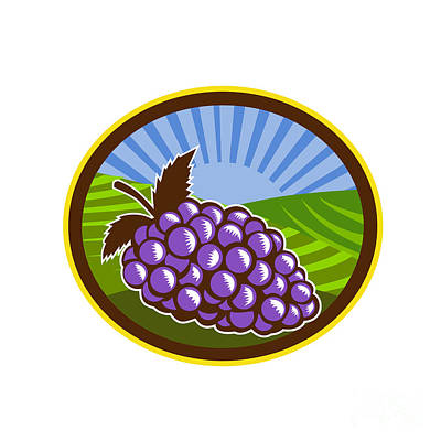 Grapes Vineyard Farm Oval Woodcut Art Print