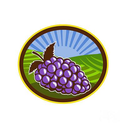 Linoleum Digital Art - Grapes Vineyard Farm Oval Woodcut by Aloysius Patrimonio