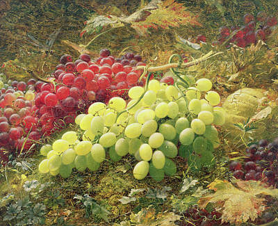 Vine Painting - Grapes by William Jabez Muckley