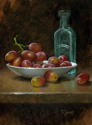 Antique Miniature Painting - Grapes With Antique Bottle by Timothy Jones