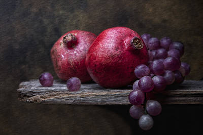 Grapes With Pomegranates Art Print
