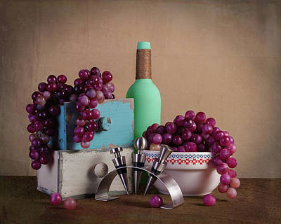 Grapes With Wine Stoppers Art Print by Tom Mc Nemar