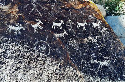 Grapevine Canyon Desert Bighorn Sheep Petroglyphs Landscape Art Print