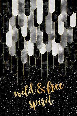 Digital Art - Graphic Art Feathers Wild And Free Spirit - Sparkling Metals by Melanie Viola