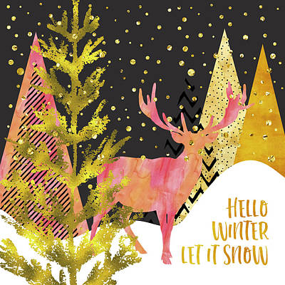 Let It Be Digital Art - Graphic Art Gold Hello Winter Let It Snow by Melanie Viola