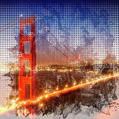 Abstract Movement Photograph - Graphic Art Golden Gate Bridge - Watercolour Style by Melanie Viola