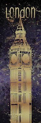 Digital Art - Graphic Art London Big Ben - Ultraviolet And Golden by Melanie Viola