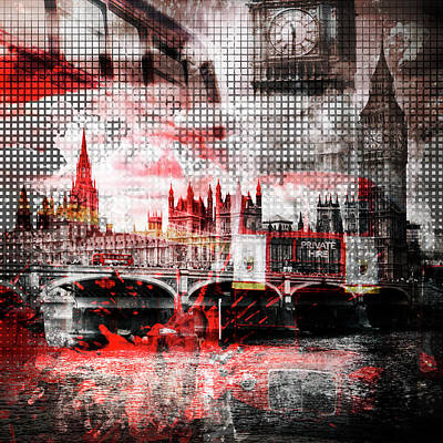 Historic Bridge Photograph - Graphic Art London Red Bus Composing by Melanie Viola