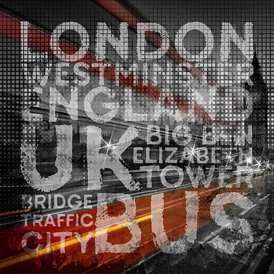 Traffic Digital Art - Graphic Art London Red Bus by Melanie Viola