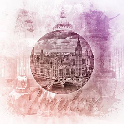 Abstract Digital Art Photograph - Graphic Art London Sightseeing by Melanie Viola