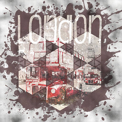 Graphic Art London Streetscene Art Print by Melanie Viola