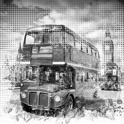 Traffic Digital Art - Graphic Art London Westminster Buses by Melanie Viola