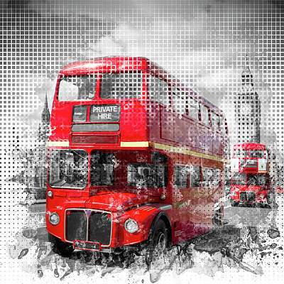 Abstract Sights Digital Art - Graphic Art London Westminster Red Buses by Melanie Viola