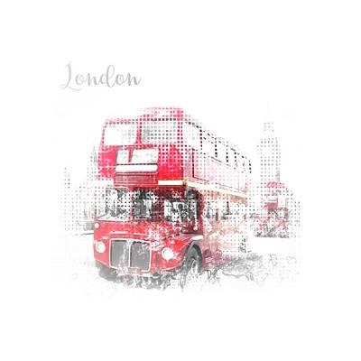 Abstract Digital Art Photograph - Graphic Art London Westminster Street Scene by Melanie Viola