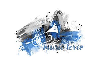 Music Lover Digital Art - Graphic Art Music Lover - Blue by Melanie Viola
