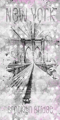 Photograph - Graphic Art New York City Brooklyn Bridge by Melanie Viola