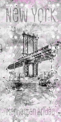 Digital Art - Graphic Art New York City Manhattan Bridge by Melanie Viola