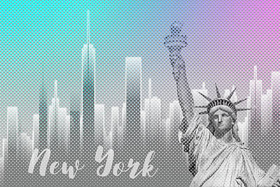Graphic Art New York Mix No 4 - Funky Cyan And Pink Art Print