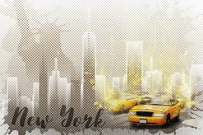 Street Scene Digital Art - Graphic Art New York Mix No. 6 - Brown And Yellow - Splashes by Melanie Viola