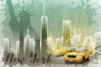 Street Scene Digital Art - Graphic Art New York Mix No 6 - Green And Yellow by Melanie Viola
