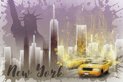 Street Scene Digital Art - Graphic Art New York Mix No 6 - Purple - Splashes by Melanie Viola