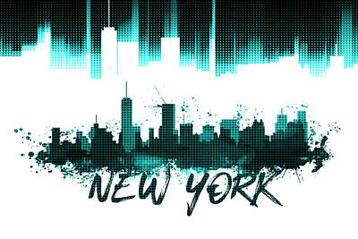 Cyan Digital Art - Graphic Art Nyc Skyline - Cyan by Melanie Viola