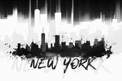 Nyc Digital Art - Graphic Art Nyc Skyline II - Black by Melanie Viola