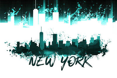 Graphic Art Nyc Skyline Splashes - Cyan Art Print