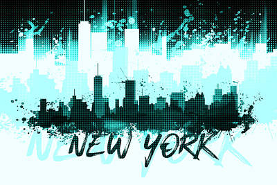 Graphic Art Nyc Skyline Splashes II Cyan Art Print