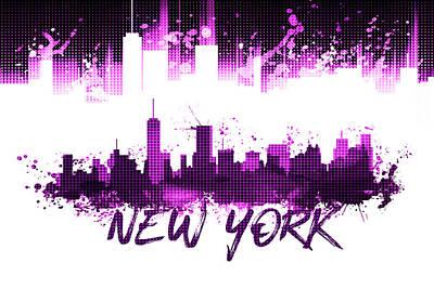 Nyc Digital Art - Graphic Art Nyc Skyline Splashes - Pink by Melanie Viola