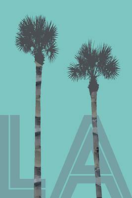 California Landscape Art Digital Art - Graphic Art Palm Trees La - Turquoise by Melanie Viola