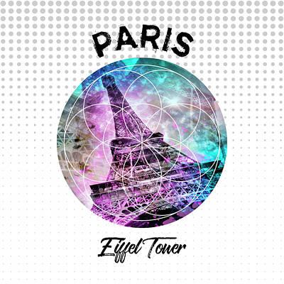 Graphic Art Paris Eiffel Tower Art Print by Melanie Viola