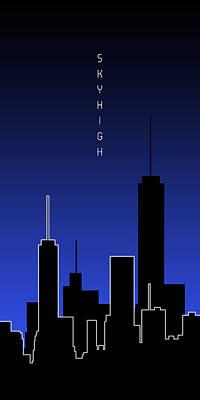 Architecture Digital Art - Graphic Art Skyhigh Panoramic - Blue by Melanie Viola