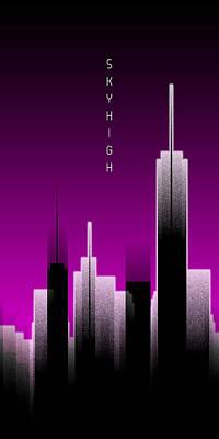 Graphic Art Skyhigh Panoramic Lights - Pink Art Print by Melanie Viola